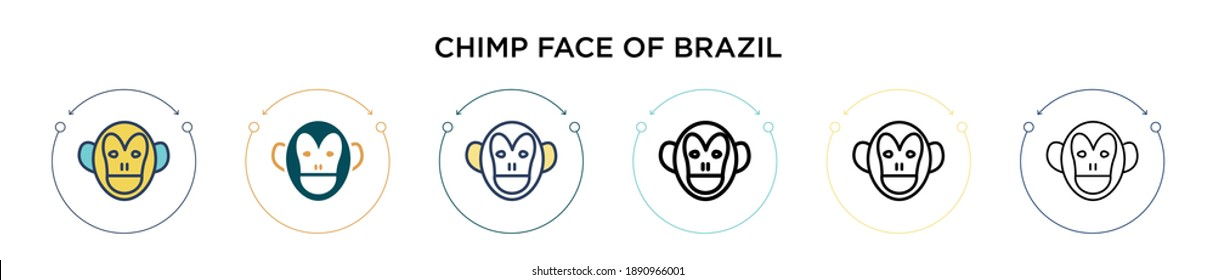 Chimp face of brazil icon in filled, thin line, outline and stroke style. Vector illustration of two colored and black chimp face of brazil vector icons designs can be used for mobile, ui, web