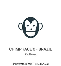 Chimp face of brazil vector icon on white background. Flat vector chimp face of brazil icon symbol sign from modern culture collection for mobile concept and web apps design.