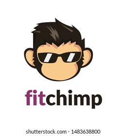 chimp monkey head , cool logo design template