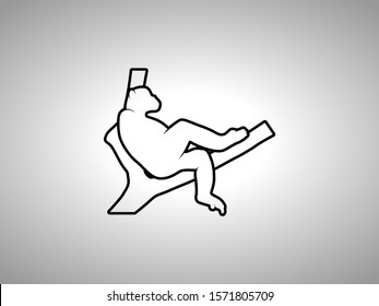 Chimp Silhouette on White Background. Isolated Vector Animal