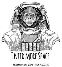 Chimpanzee Monkey Astronaut. Space suit. Hand drawn image of lion for tattoo, t-shirt, emblem, badge, logo patch kindergarten poster children clothing