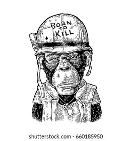 Chimpanzee monkey dressed  in human soldier helmet with glasses and peace sign. Lettering Born to kill Vintage black engraving illustration for poster and t-shirt design. Isolated on white background.