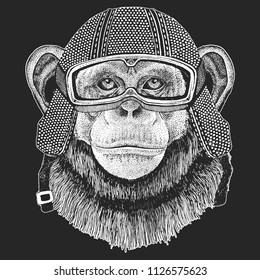 Chimpanzee, Monkey. Vintage motorcycle hemlet. Retro style illustration with animal biker for children, kids clothing, t-shirts. Fashion print with cool character. Speed and freedom.