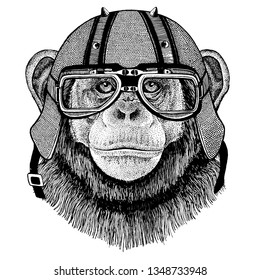 Chimpanzee, monkey wearing a motorcycle, aero helmet. Hand drawn image for tattoo, t-shirt, emblem, badge, logo, patch.