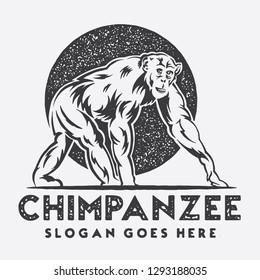 Chimpanzee Rustic Logo
