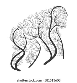 Chimpanzee stylized bushes on a white background for use as logos on cards, in printing, posters, invitations, web design and other purposes.