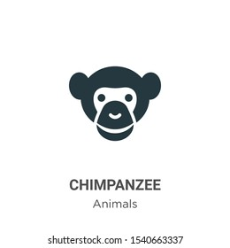 Chimpanzee vector icon on white background. Flat vector chimpanzee icon symbol sign from modern animals collection for mobile concept and web apps design.