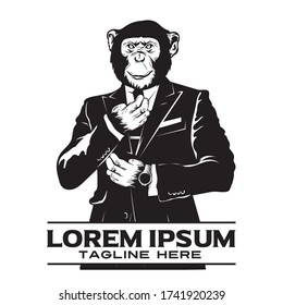 Chimpanzees wear suits, suitable for brand logos and tshirt designs