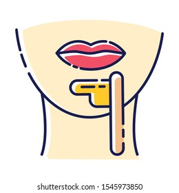 Chin waxing beige color icon. Female facial hair removal procedure. Depilation with natural hot sugar wax. Professional beauty treatment. Clean and silky skin. Isolated vector illustration