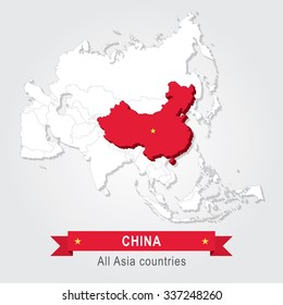 China. All the countries of Asia.
