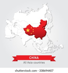 China. All the countries of Asia. Flag version.