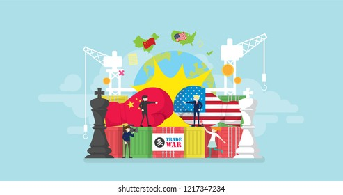 China And America Trade War Tiny People Character Concept Vector Illustration, Suitable For Wallpaper, Banner, Background, Card, Book Illustration, And Web Landing Page