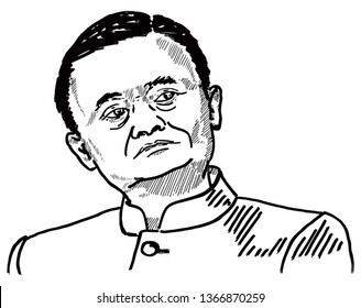 CHINA, April 5, 2019: Caricature of the founder of Alibaba e-commerce Jack Ma. Hand drawn vector illustration.