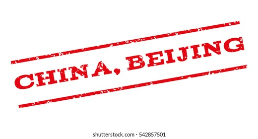 China Beijing watermark stamp. Text tag between parallel lines with grunge design style. Rubber seal stamp with scratched texture. Vector red color ink imprint on a white background.