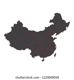 China black map on white background vector