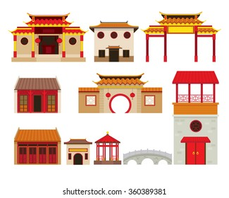 China Building Objects Set, Travel Attraction, History, Traditional Culture