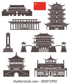 China buildings logo. Abstract China buildings on white background. EPS 10. Vector illustration