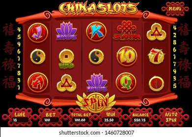 China Casino slot machine game and icons. Vector complete Interface Chinese Slot Machine and buttons.  Chinese Characters - Good fortune, Prosperity, Longevity,Auspiciousness