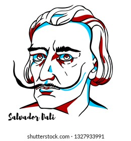 CHINA, CHENGHAI - February, 24, 2019: Salvador Dali engraved vector portrait with ink contours. Spanish surrealist born in Figueres, Catalonia, Spain.