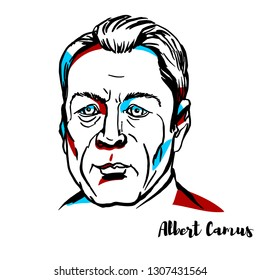 CHINA, CHENGHAI - January, 29, 2019: Albert Camus engraved vector portrait with ink contours. French philosopher, author, and journalist.