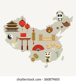 China. Chinese attributes.Vector illustration