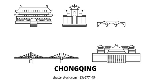 China, Chongqing line travel skyline set. China, Chongqing outline city vector illustration, symbol, travel sights, landmarks.