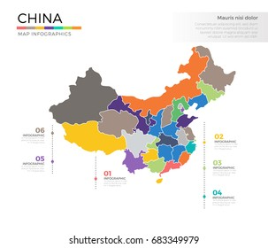 China country map infographic colored vector template with regions and pointer marks