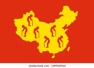 China as country of old people - population ageing / aging. Social problem of old society wwith aged, retired, senior and elderly men. Vector illustration