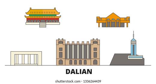China, Dalian flat landmarks vector illustration. China, Dalian line city with famous travel sights, skyline, design.
