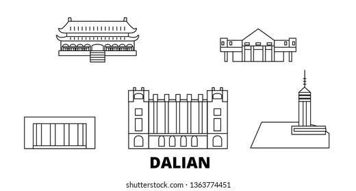 China, Dalian line travel skyline set. China, Dalian outline city vector illustration, symbol, travel sights, landmarks.