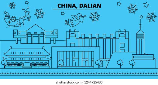 China, Dalian winter holidays skyline. Merry Christmas, Happy New Year decorated banner with Santa Claus.China, Dalian linear christmas city vector flat illustration