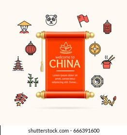China Design Template Line Icon Concept and Paper Scroll or Roll Card Concept of Asian Tourism. Vector illustration