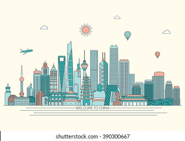 China detailed Skyline. Travel and tourism background. Vector background. line illustration. Line art style
