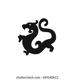 China Dragon simple logo, icon, zodiac symbols. Vector label