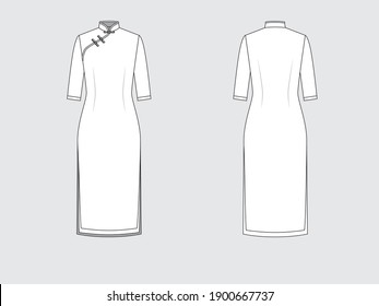 china dress, front and back, drawing flat sketches with vector illustration by sweettears