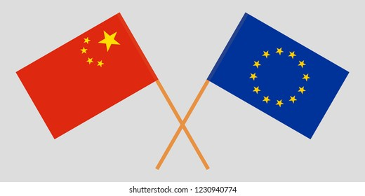 China and EU. The Chinese and European Union flags. Official colors. Correct proportion. Vector illustration