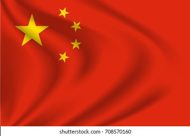 China flag background with cloth texture.  China flag vector illustration.