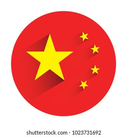 China flag in circle shape