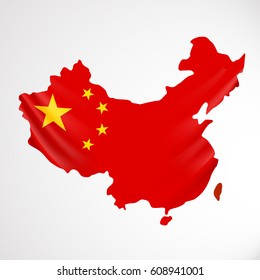 China flag in form of map. People's Republic of China. National flag concept. Vector illustration.