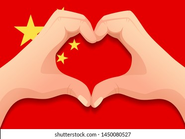 China flag and hand heart shape. Patriotic background. National flag of China vector illustration