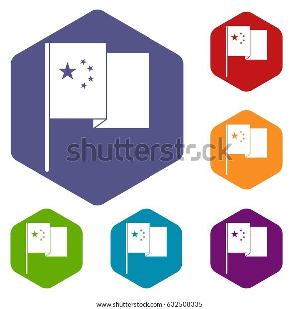 China flag icons set hexagon isolated vector illustration
