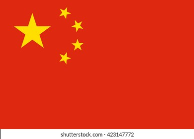 China flag, official colors and proportion correctly. National China flag. Vector illustration. EPS10.