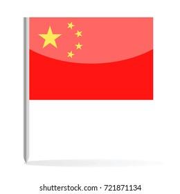 China Flag Pin Vector Icon - Illustration