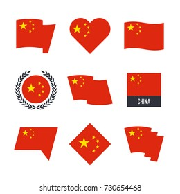 China flag vector icons and logo design elements with the Chinese flag
