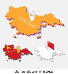 China flags on map element and 3D isometric shape isolated on background, vector illustration