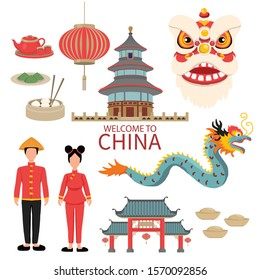 China Flat Icons Design Travel Concept . example Lion  and Dragon Dance , lantern, temple landmark , traditional foods. Vector illustration