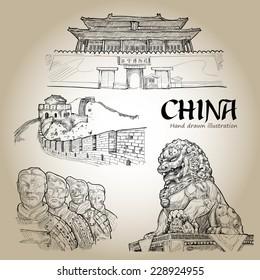 China Hand Drawn. Travel Concept. Icons set. Vector Illustration