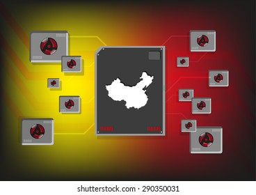 China Industrial and Technology Concept. Editable Clip Art.