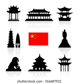 China Landmarks Icon Set. Vector and Illustration.