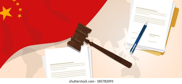 China law constitution legal judgment justice legislation trial concept using flag gavel paper and pen